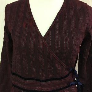 Vanity Brand Wrap Top Blouse Long Sleeves Striped